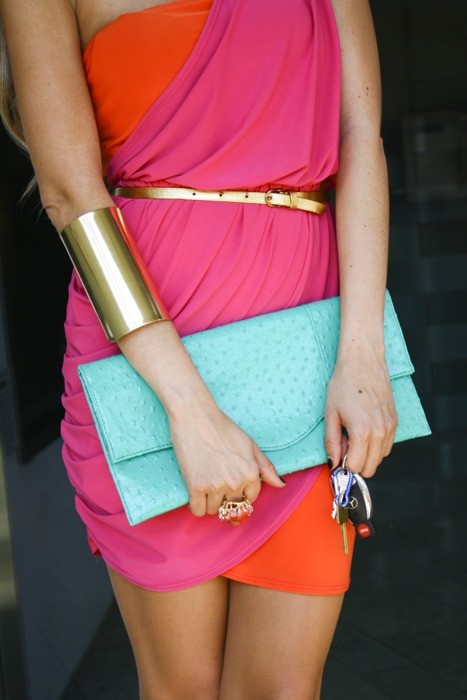 Neon envelope clutch