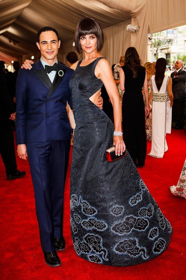 Zac Posen, in custom Brooks Brothers, and Katie Holmes, in a dress by the designer