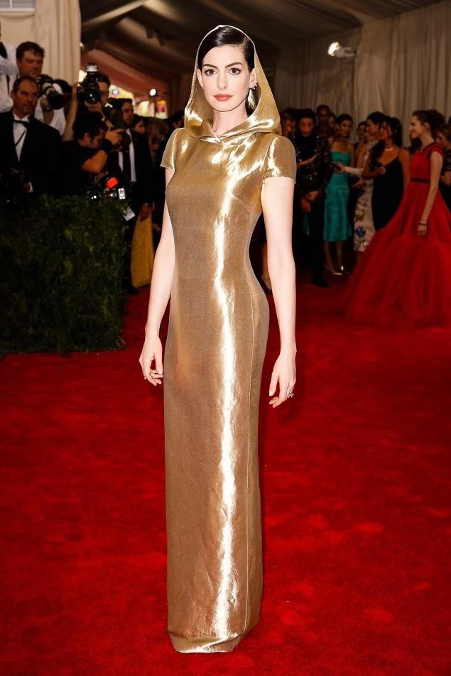 Anne Hathaway, in custom Ralph Lauren