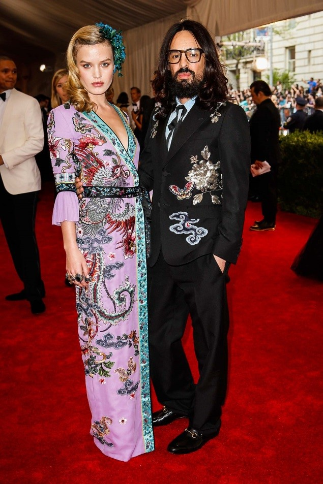 Georgia May Jagger and Alessandro Michele, both in Gucci