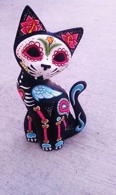 Painted hand carved wooden cat figurine