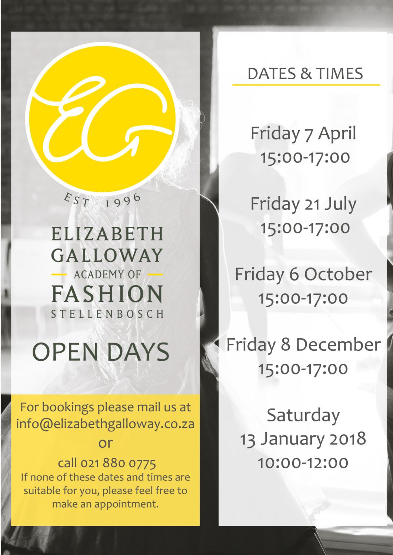 Elizabeth Galloway Open Days 2017