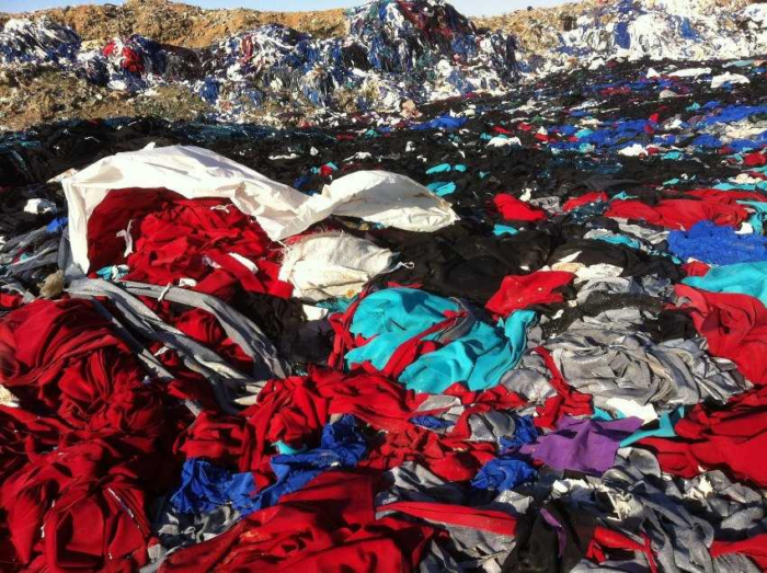 Non eco friendly textiles on landfill