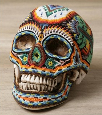 Huichol skull - each bead is set by hand onto wax